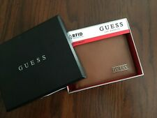 New Guess Men Leather Credit Card ID Wallet Passcase Billfold Brown tan Leather