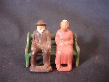Old Vtg Cast Iron Elderly Man Woman Sitting On Bench Train Garden Figure
