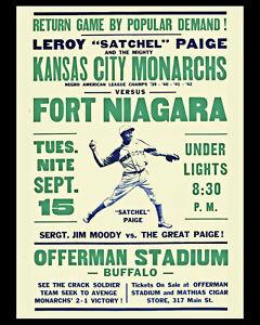 KC Monarchs (Satchel Paige) Vs. Fort Niagara in Buffalo NY 1942  - 8 x 10 Photo