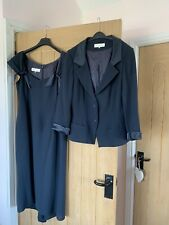 Ladies 2 Piece Suit Dress And Jacket Size 14 Paddy Campbell Dark Blue Navy