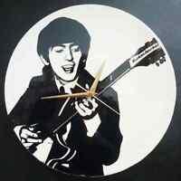 "George Harrison- Beatles 12"" LP Vinyl Record Wall Clock, Pop Art Canvas, 60s mod"
