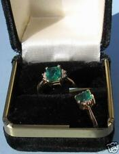 14K Solid Gold Ring 1.4c Colombian Emerald w/4 diamonds All Beautiful Gems New