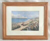 Original Watercolour Painting Polzeath Beach Cornwall Seascape Signed Framed