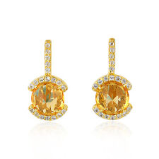 Christmas Gift Special Stud Earrings Sterling Silver White Topaz Citrine