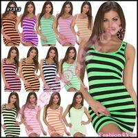 Sexy Mini Dress Ladies Summer Casual Striped Short Dress One Size 6,8,10 UK New