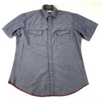 Wrangler Wrancher Shirt Adult M Blue Pearl Snap Button Up Short Sleeve Mens