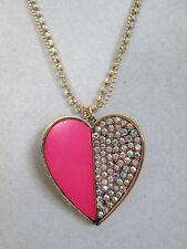 NWT Auth Betsey Johnson Casino Royale Rhinestone Pink Heart Pendant Necklace