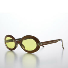 Small Yellow Colored Oval Lens 90s Vintage Sunglass Gold Beige Frames - Gem