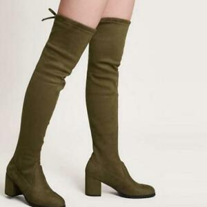 Womens Thigh High Stretch Boots Block Mid Heels Pull On Over The Knee High Boots