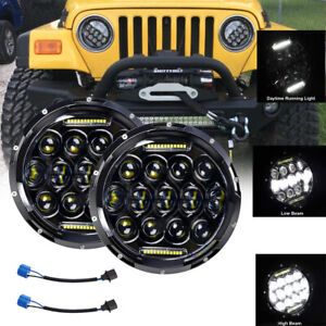"Pair 7"" 280W LED Headlight Hi/Lo DRL Fit for Jeep Wrangler CJ JK TJ LJ"