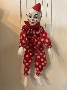 Vintage Hazelle's Airplane Cross Handle Control Marionette Puppet Teto the Clown