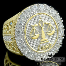 Libra 10k Yellow Gold Over Sterling Silver Zodiac Astrology Sign Horoscope Ring