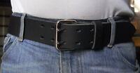Men's Rustic Jeans Belt, 1 ¾ inch wide buffalo leather, solid brass buckle