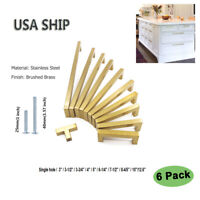 Gold Kitchen Cabinet Handles 6 Pack Brass Drawer Pulls Modern Cabinet Hardware