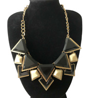 Necklace Gold Tones Black White Triangles Lobster Clasp Statement Runway Power