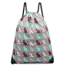 Cotton Canvas Waterproof Printed Drawstring Gym Work Backpack Rucksack (Cat G...