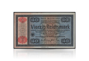 40 Reichsmark Konversionskassenschein with Red Positive Pressure Wertlos 1934