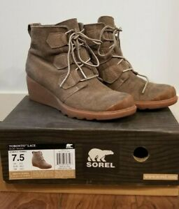 Sorel Womens 7.5 Taupe Toronto Wedge Boot Bootie Lace Up