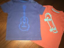 2/3 Mini Boden Graphic Tee Lot of 2 Red w/ Skateboard & Blue w/ Guitar