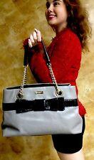 "Kate Spade ""Beaumont Bridge Elena"" Tote Shoulder Bag Purse Gray Black Leather"