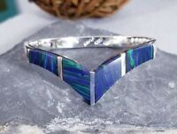Vtg 925 Sterling Silver TAXCO Blue Green Azurite Chevron V Bangle Bracelet