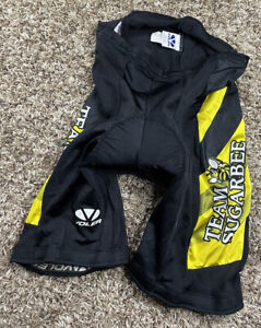 """VOLER WOMEN'S SIZE L LARGE CYCLING SHORTS BLACK AND YELLOW """"TEAM SUGARBEE"""""""