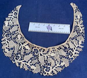 Victorian Antique Handmade Point de Venise Needle Lace Bertha Collar Dress Trim