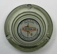 "c1960s Sandra La Motel Inn Grey Glass Ashtray Palm Desert CA ""Golf Capitol"" NICE"