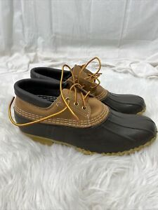 New LL Bean Duck Shoes Low Women's Size 10 N Brown Rubber Tan Leather