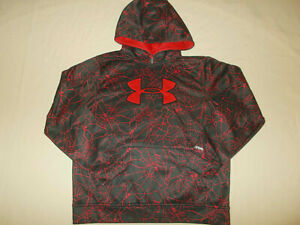 UNDER ARMOUR STORM BLACK & RED SPIDERWEB HOODED SWEATSHIRT BOYS LARGE EXC.