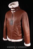 Men's AIR FORCE Cognac Brown & White Aviator Bomber B3 Sheepskin Leather Jacket
