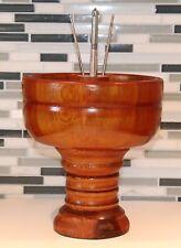 Vintage Tall Wooden Round Nut Bowl on Pedestal with Cracker & 2 Picks Nut Holder