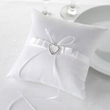 Ringkissen aus Satin für die Hochzeit Herz 'Strassherz' weiß