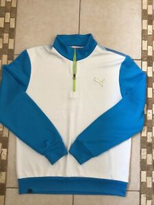 Mens white and blue zip neck top by Puma size Medium