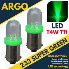 2 X 233 BA9S T4W LED GREEN SIDELIGHT LAMP BULBS XENON BEAM 12V HEADLIGHT UPGRADE