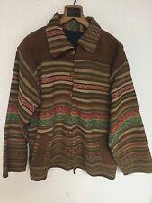 Handmade Southwestern Cowboy Style Jacket Woven Canvas Blanket Fully Lined
