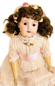 """Antique Bisque Doll Armand Marseille Jointed Wood Body 25"""""""
