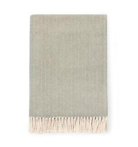 "Sferra Celine Throw Blanket Moss Cotton Herringbone Twisted Fringe 51x71"" New"