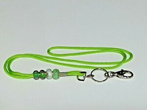 Lanyard ID Badge Holder Soft Polyester Braded Cord Murano Beads Lime Green  US 2