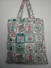 Cotton Linen Tote Shopping Handbag Shoulder Bag Women Girls Purse-Tea Drink