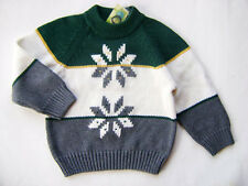 GYMBOREE Grizzly Peak Boys Snowflake Green Gray Crewneck Sweater 3 NEW