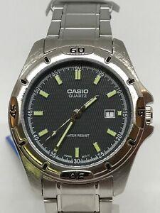 Casio  MTP-1244D-8A 41mm, 5BAR Quartz DATE 100% genuine grey mesh patina
