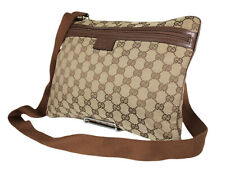 GUCCI GG Web Canvas Leather Browns Crossbody Shoulder Bag GS2482