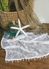 "Heritage Lace White Starfish 15"" x 36"" Table Runner with Seaglass Trim"