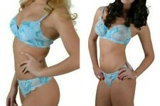 Light Blue Underwired Padded Push Up Bra, Sheer Underwired Bra, Thong OR Briefs