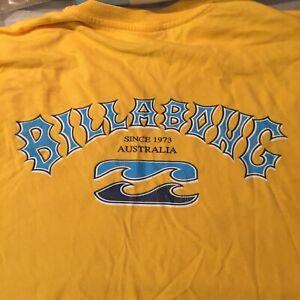 Vintage Late 1990's Large Bright Yellow Billabong Australia T-Shirt Made In Fiji