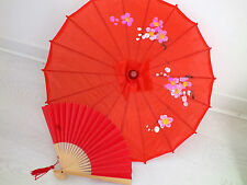 JAPANESE SMALL RED PARASOL PAPER HAND FAN CHINESE UMBRELLA WEDDING PARTY