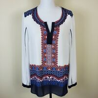 ADRIANNA PAPELL Semi Sheer Blouse Shirt Top Pullover Long Sleeve Women's Size L