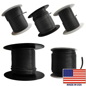 (5) Black 10 AWG to 18 Gauge Primary Wire 100 FT Spool Stranded Copper USA