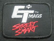 "ET MAGS EMBROIDERED PATCH STREET SMART WHEELS CAR RACING BLACK 3 1/2"" x 2 3/4"""